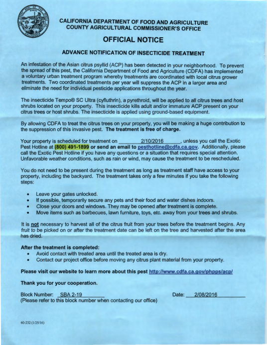 Letter received by homeowners regarding imminent pesticide spraying